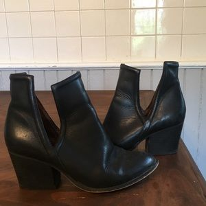 Shoes - Wittner Black Leather Cut-Out Boots